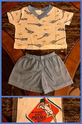 1970s New Vintage Baby 2 Piece Pajama Knit Short Set Trains Vinyon Blue Sz 1