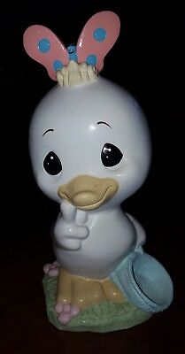 """Precious Moments """"Retired"""" Duck with Butterfly Garden Statue"""