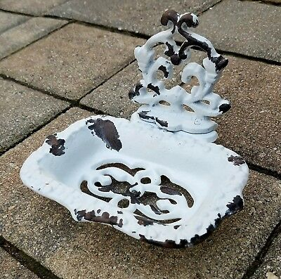 Vintage cast iron soap dish business card stand shabby French vintage Decor