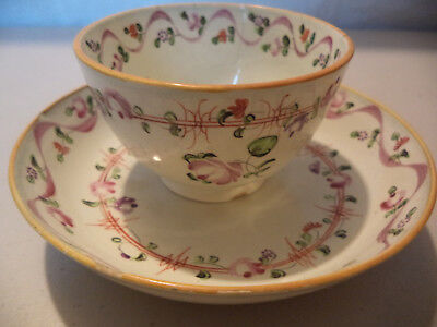 Antique Early 19thc Creamware Pearlware Hand Painted Floral Tea Cup Well Saucer!