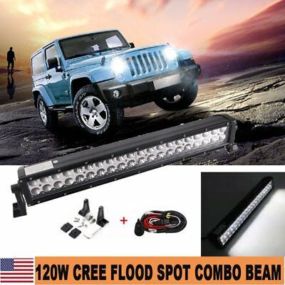 22'' 120W 4D Lens CREE LED Spot Flood Combo Work Light Driving Offroad Lamp 4WD