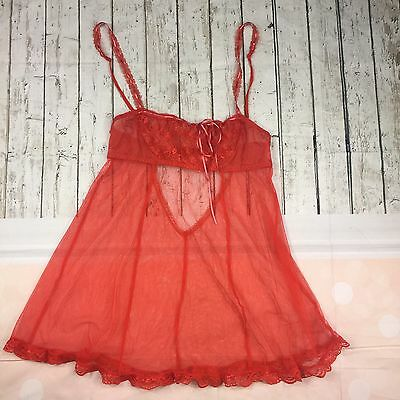 Victoria's Secret Women's Lingerie Size Small Red Sexy Lace Sheer Teddy