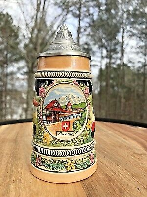Armin Bay Hand Painted Ceramic Beer Stein  Switzerland  95% Zinc Lid