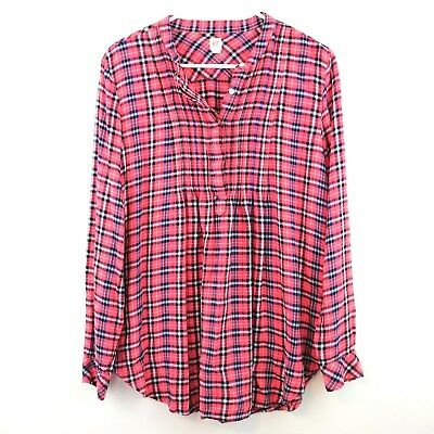 GAP Maternity Blouse Plaid Long Sleeve Top Pink Blue Button Neck SIZE MEDIUM