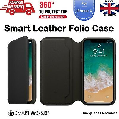 For iPhone X 10 Luxury Leather Folio Smart Sleep & Wake Wallet Flip Case Cover