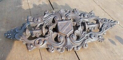Antique French Cast Iron Architectural Mount, Plaque With heraldic theme 19thC
