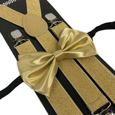 Soft Gold Suspender and Bow Tie Set for Adults Men Women Teenagers (USA Seller)