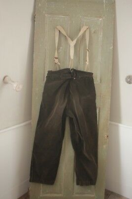 Vintage / antique Corduroy suspender pants trousers work / chore wear c1920 38W