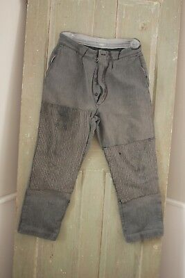 Vintage antique French Workwear pants Chore  pants trousers 31 waist patched old