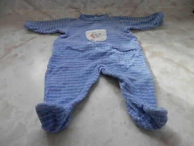 Baby Boy 3 Months Petit Beteau Blue Terry Squirrel Snap Up Footed Sleeper