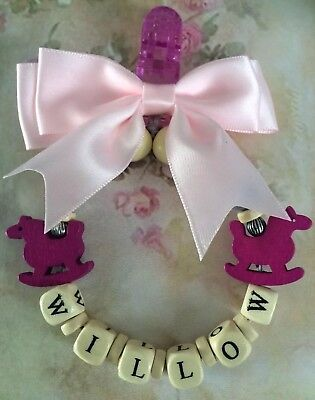 Personalised Pram Car seat Garland Charm New Baby rocking horse plum & pink girl