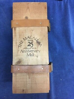 The Macallan Over 25 Years Old Anniversary Malt Wood Wooden Whisky Box w/Straps