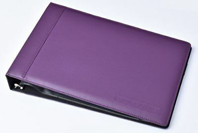 Real Leather 7 Ring Business Check Binder for 3 on a Page Checks (purple)