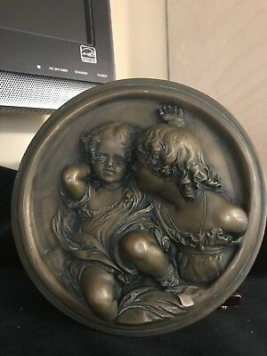 Art Nouveau French Bronze like Sulpture of Mother and Child Wall Plaque