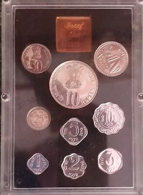 1972 Republic of India 9 Coin Proof Set - Government Mint Bombay