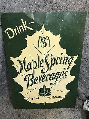 Drink Maple Spring Beverages Tin Sign Cooling Refeeshing Maple Leaf Green Tan
