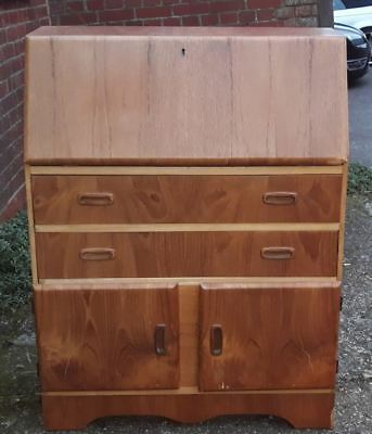 Vintage 1970's Bureau Writing Desk With Two Drawers And Cabinet