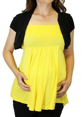 Yellow Solid Short Sleeve Black Maternity Solid Top Blouse Women Faux Shawl