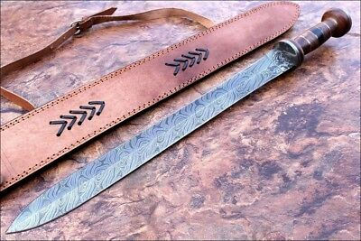 Handmade Damascus Knife Custom 25 Inches Rose Wood Handle Sword 786-89