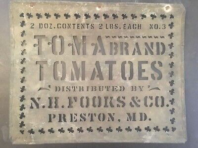 Brass Stencil Preston MD. Tomato Box Label