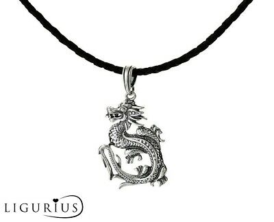 Sterling Silver 925 Dragon Pendant & Black Leather Necklace Cord Necklace