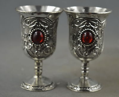 Collectable Handwork Miao Silver Carve Beauty Flower Inlay Agate Lucky Wine Cup