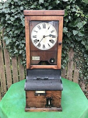 Antique National Time Recorder Clock London, Clocking In Machine Timepiece