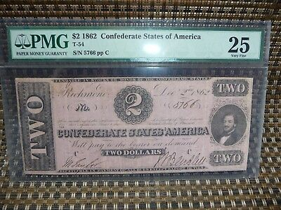 1862 T-54 Pmg $2 Very Fine 25 Confederate Currency
