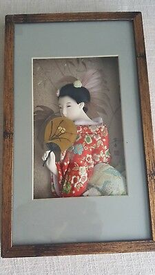 Vtg Porcelain Japanese Geisha In 3D Shadowbox  Picture Frame Fan Kimono