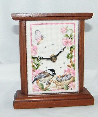 Unbranded Brown Mantle Clock W/ Hand Made Cross stitched Bird Background