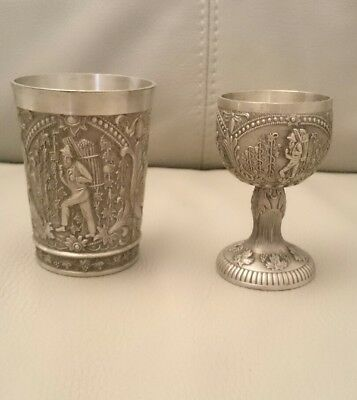 ALWE Germany Pewter Goblet and Cup