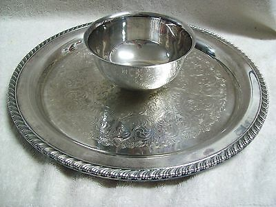 """W. Rogers Silver Plated 12"""" Round Etched Serving Tray w, Center Bowl"""