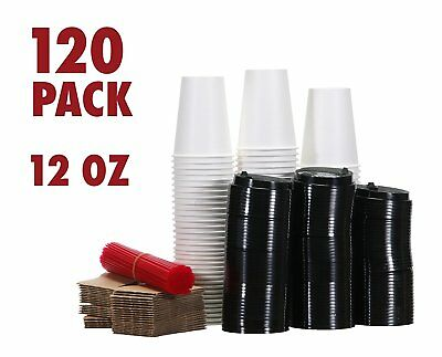 120 Paper Coffee Hot Cups with Lids, Stirrers, Sleeves, Disposable Cups (12 oz)