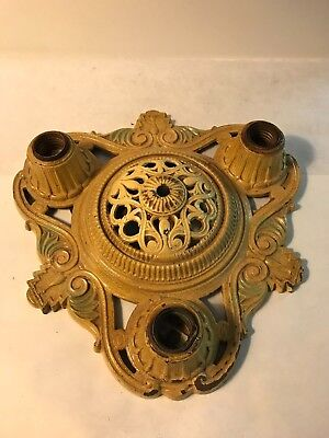 Antique heavy cast iron?  Art Deco flush mount light fixture ceiling chandelier