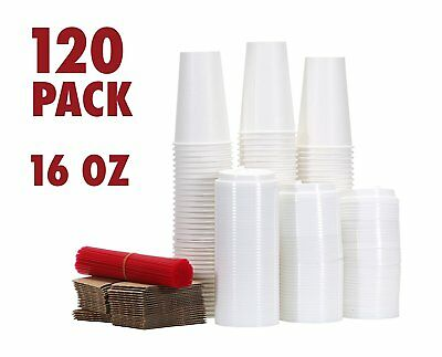 120 Paper Coffee Hot Cups with Lids, Stirrers, Sleeves, Disposable Cups (16 oz)