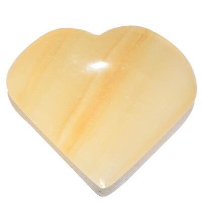 CHARGED Honey Calcite Heart Palm Stone / Worry Stone Crystal Energy Healing 80g