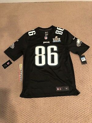 3aa950e7144 Nike Philadelphia Eagles Jersey Zach Ertz #86 Super Bowl LII Patch Black  Mens