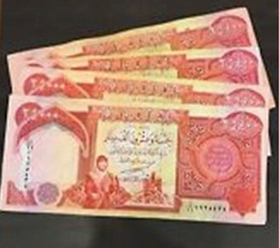 100,000 Iraqi Dinar 4 x 25,000 25000 UNCIRCULATED Currency NEW IQD