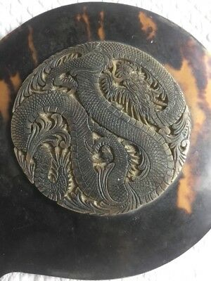 Antique Carved Chinese Dragon Mirror 'Tortoiseshell' Collectible