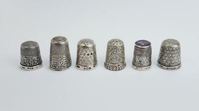 6x Antique STERLING SILVER THIMBLES c1900 a/f