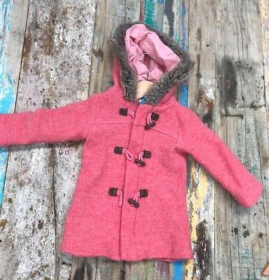 PUREBABY Wool Duffle Coat Size 1. Pink. Labelled Size 3 But Small