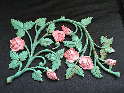 Vintage CAST IRON Roses w/ Leaves Wall decoration ANTIQUE Architectural Salvage