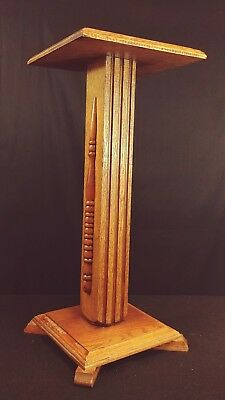Antique Oak Column Pedestal Plant Stand 22-1/2 Tall
