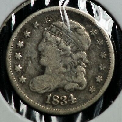 1834 H10C Capped Bust 5C Half Dime Coin