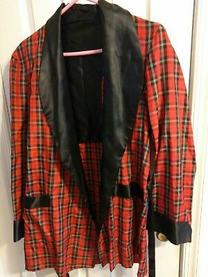 VINTAGE Mens 1960s RAYON Robe ASCOT Stafford SMOKING JACKET Red MEDIUM New