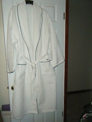 NEW W Hotels Waffle Weave Robe with Terry Lining One Size Fits Most White