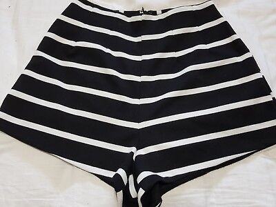 High waisted mini shorts size 8 black and white stripe smart casual