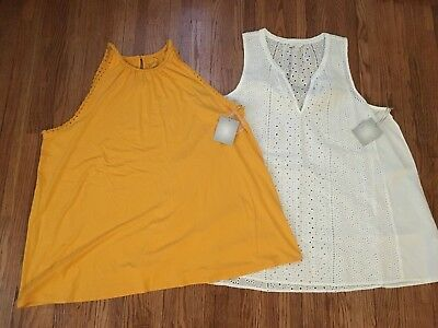 NWT a:glow Maternity Summer Tops Shirts Tanks Lot Size XL Yellow White