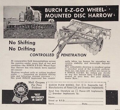 1956 Ad(Xb32)~Burch Plow Works. Evansville, Ind. Wheel Mounted Disc Harrow