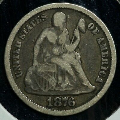 1876 CC 10C Seated Liberty Carson City Dime Coin